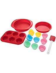 Aokinle Silicone Bakeware Set-16 Piece Baking Molds Non Stick Muffin Pan,Round Cake Pan,Cake Cups Molds,Spatula,Red