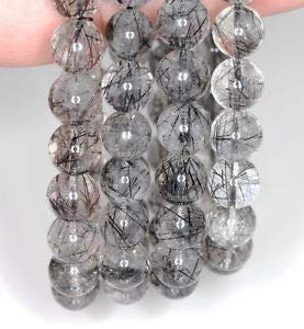 (9MM Black RUTILATED Quartz Gemstone Grade AA Round 9MM Loose Beads 7