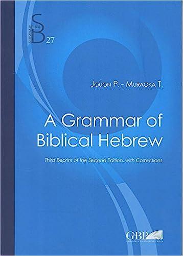 A grammar of biblical hebrew subsidia biblica paul joon t a grammar of biblical hebrew subsidia biblica paul joon t muraoka 9788876536298 amazon books fandeluxe Gallery