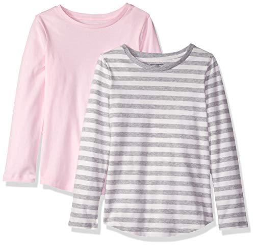 Amazon Essentials Toddler Girls' 2-Pack Long-Sleeve Tees, Ev