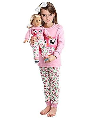 Girls Matching Doll&toddler Owl 4 Piece long cotton Christmas Pajamas sleepwear
