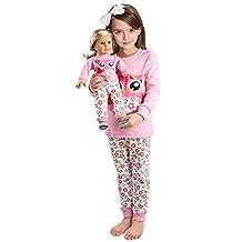 Girls Matching Doll&toddler Owl 4 Piece long cotton Christmas Pajamas sleepwear,Pink Owl,3T