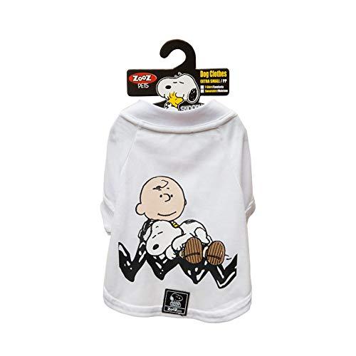 Camiseta Snoopy Charlie Zooz Pets para Cães Sleep Branca - Tamanho P