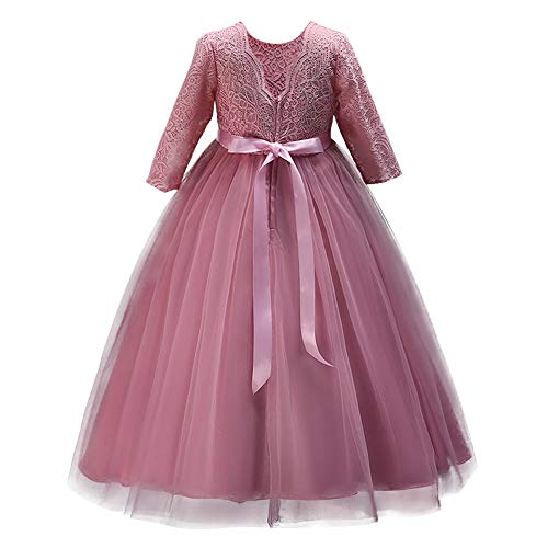 IWEMEK Flower Girls 3/4 Sleeve Lace Tulle Pageant Prom Ball Gown Kid Floor Length Bridesmaid Embroidered Wedding Party First Communion Princess Dress Puffy Dance Evening Long Maxi Dress Z Bean Pink ()
