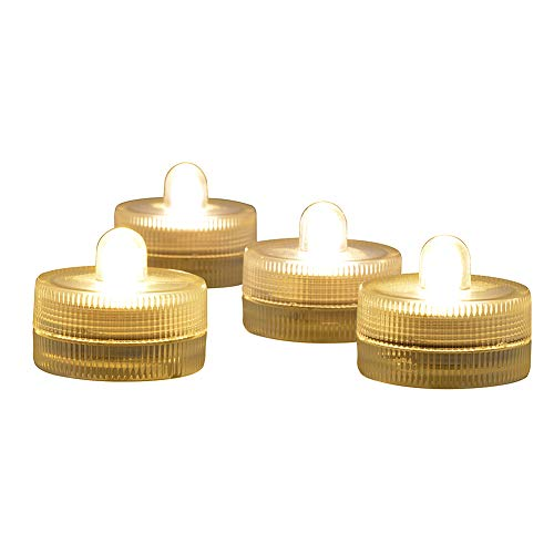 Submersible LED Lights cr2032 Battery Powered Underwater Waterproof LED Tea Light Candles for Events Wedding Centerpieces Vase Floral Xmas Holidays Home Decor Lighting(Pack of 12) (Warm White)