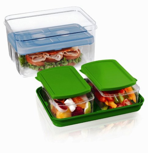 Fit & Fresh Lunch on the Go Set with Ice Pack, 3 Reusable Portion Control Containers, BPA-Free, Microwave/Dishwasher Safe Lunch Box (Therapy Go Fresh Therapy)