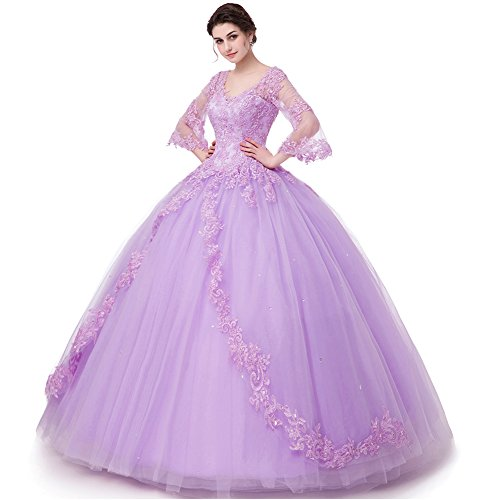 Peony Long Sleeve Lace Quinceanera Dresses Formal Prom Dresses Ball Gown (16, Lavender)