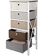 SortWise Dresser Storage Tower MDF Wood End Table/Night Stand with 5 Removeable Drawers for Closet Bedroom Livingroom Entryway