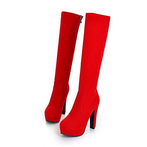 QIN tacco del amp;X blocco scarpe donne di stivali piattaforma tacchi testa Red Le lunghi rotonda HWUxWn