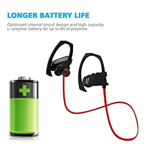 Bluetooth Headphones, Semaco Wireless Earphones V4.1 Sports Headset with Microphone Heavy Bass Stereo Noise Cancelling In Ear Earbuds for Running Gym (Red-black)