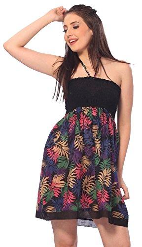 La Leela Baumwolle schwarz Leaf Allovergedruckt Halter kurz Rohr Kleid Tunika