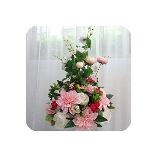 (38 cm Wedding Decor Table Centerpieces Artificial Flower Ball Centerpieces Leaf Backdrop Road Lead Table Floral Ball,Pink B)