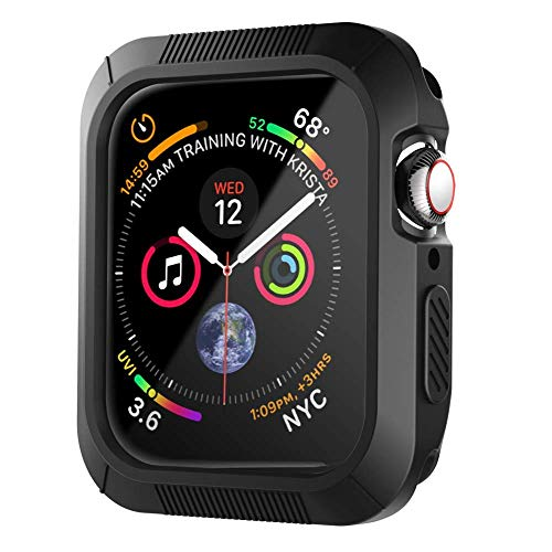 XICHENK Compatible with Apple Watch Case 44mm, Shock-Proof and Shatter-Resistant Protective Case Replacement for Apple Watch Series 4 - Black