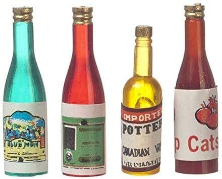 Melody Jane Casa de Muñecas 4 Mixto Alcohol Botellas Miniatura 1:12 Bar Pub Estudio Tienda Accesorio