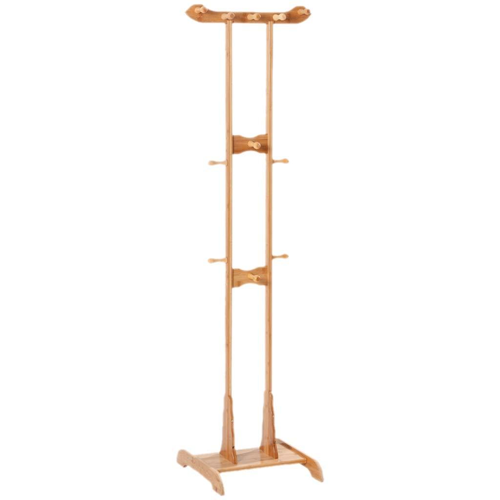 Brown 1754045cm Coat Hangers Floor Hanger Multi-Functional Simple Coat Rack Double Rod Solid Wood Storage Hanger Home Bedroom Shelf Gift (color   Brown, Size   175  40  45cm)