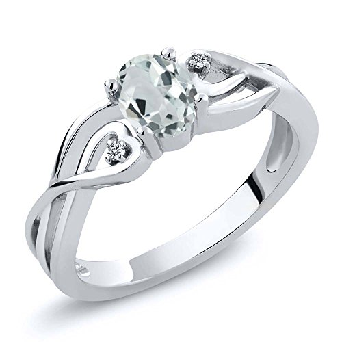 Gem Stone King 925 Sterling Silver Sky Blue Aquamarine and White Diamond Women's Ring 0.44 Ct Oval (Size 9) (March Birthstone Promise Ring)