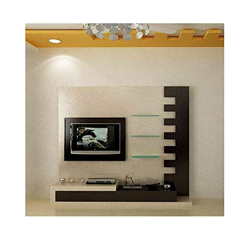 Pencil Interiors Modern Wooden Tv Stand Tv Unit For Living Room With Push To Open Doors Brown Size 7ft X 7ft Amazon In Home Kitchen