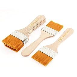 uxcell Wooden Handle Oil Paint Painting Brushes 5cm x 3cm Bristles Head 5 Pcs
