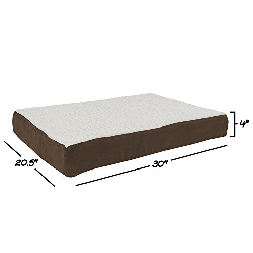 PETMAKER Orthopedic Sherpa Top Pet Bed with Memory Foam and Removable Cover 30x20.5x4 Brown
