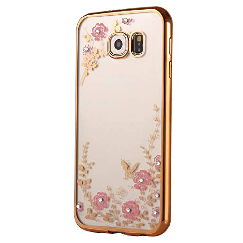YSH Cell Phone Accessories for Galaxy A9(2016) / A900 Flowers Patterns Electroplating Soft TPU Protective Cover Case(Rose Gold) Case for Samsung (Color : Color2)