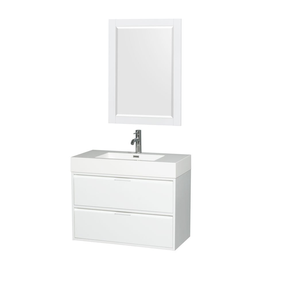 Wyndham Collection Daniella 36 Single Bathroom Vanity in Glossy White - Acrylic Resin Countertop - Integrated Sink