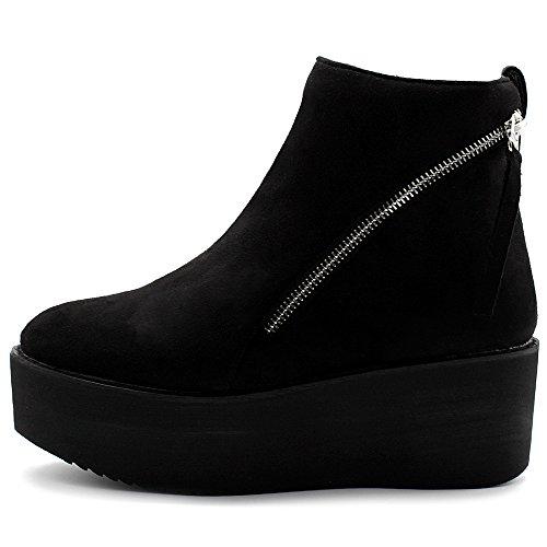Ollio Women's Shoes Faux Suede Zip Up Platform Ankle Boots TWB0105 (8.5 B(M) US, Black)