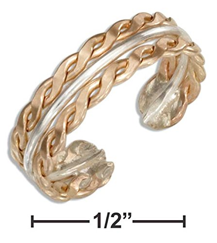 12 KARAT GOLD FILLED AND STERLING SILVER SERPENTINE TOE RING
