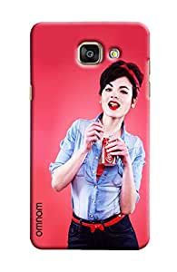 Omnam Girl Giving Pose With Cold Drink Printed Designer Back Cover Case For Samsung Galaxy A7 (2016)