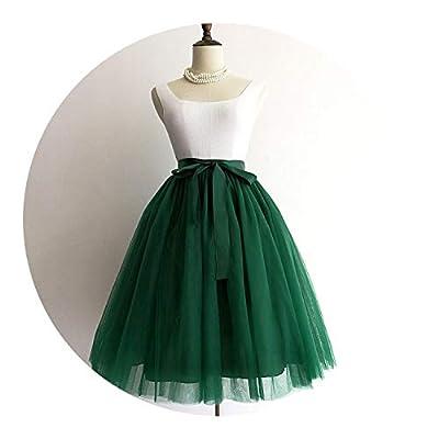 5 Layers Midi A Line Tutu Tulle Skirt High Waist Pleated Skater Skirtss Vintage