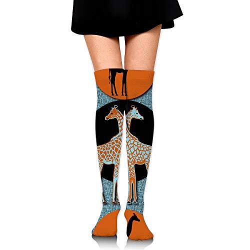 MFMAKER Womens Thigh High Socks Over The Knee High Leg Wamers Girls Winter Warm Love Giraffe Stockings