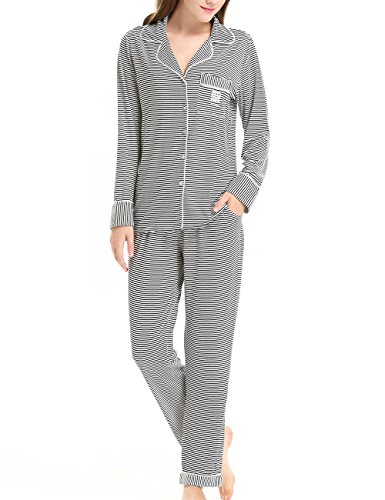 Flannel Loungewear (NORA TWIPS Women's Black Striped Long Sleeve Shirt Elastic Waist Pants Sleepwear Pajamas Set by (Black Striped,XS))