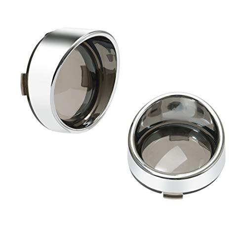 Lalaparts 2PCS Chrome Housing Visor-Style Smoke Lens Bullet Turn Signal Bezels Compatible for Harley Dyna Street Glide Road Softail Custom Cruiser