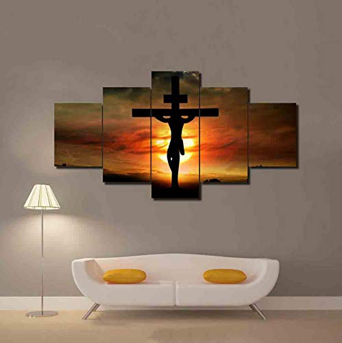 (Alasiji HD Printed Poster Modular Canvas Jesus Christ Cross God Sunset Scenery Paintings Living Room Decor Pictures Wall Art)