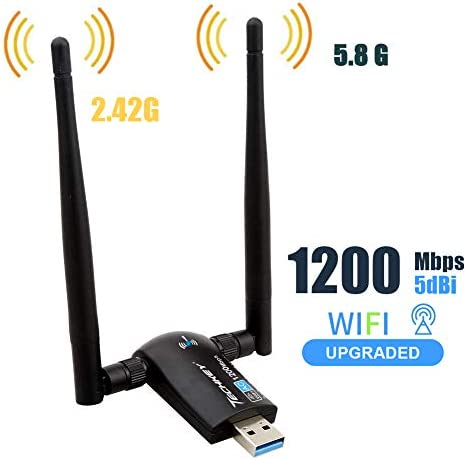 Techkey Wireless USB WiFi Adapter 1200Mbps Dual Band 242GHz300Mbps 58GHz867Mbps High Gain Dual 5dBi