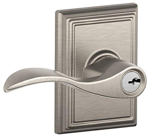 (Schlage F51AACC619ADD Satin Nickel Accent Keyed Entry F51A Panic Proof Door Lever with Addison Rosette)