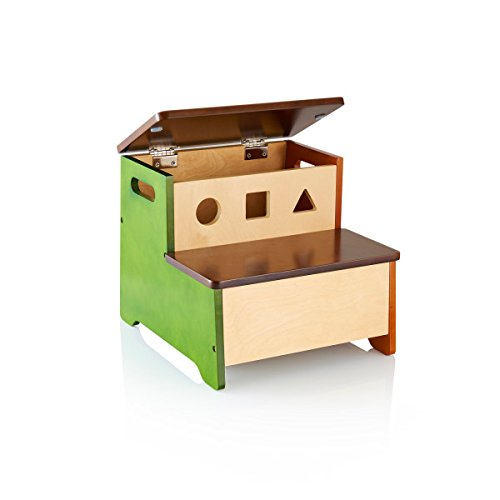 Guidecraft See and Store Step-Up - Children's Wooden Toy Storage Stool - Kids Furniture