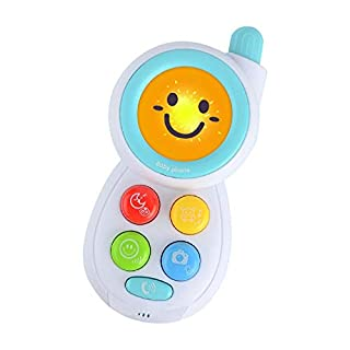 Baby Phone Toy with Music & Lights, Teething Phone for Babies, 4 Buttons, Musical Melodies, Animal Voices, Funny Voices and Recording, Toy for Boys and Girls, Infant 6 Months to 1+ Kids