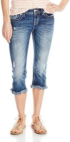 Miss Me Women's Embroidered Flap Pocket Denim Capri