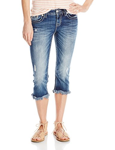 Miss Me Flap Pocket Jeans - Miss Me Women's Embroidered Flap Pocket Denim Capri, MK, 27