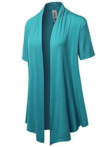 Sleeve Short Knit Open - Made by Emma Solid Jersey Knit Draped Open Front Short Sleeves Cardigan Turquoise L