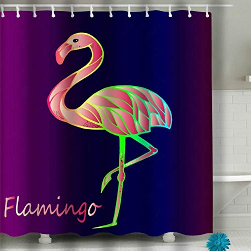 asyfgxcbvsd Beach Shower Curtain Bright Pink Flamingo Purple Gradient Background Exotic Rare Bird Beautiful Close up Sketch Exotic Bird Flamingo Fabric Bathroom Decor 60 X 72 Inch