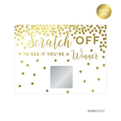Andaz Press Metallic Gold Confetti Polka Dots Party Collection, Game Cards Scratchers Scratch to Win, 30-Pack