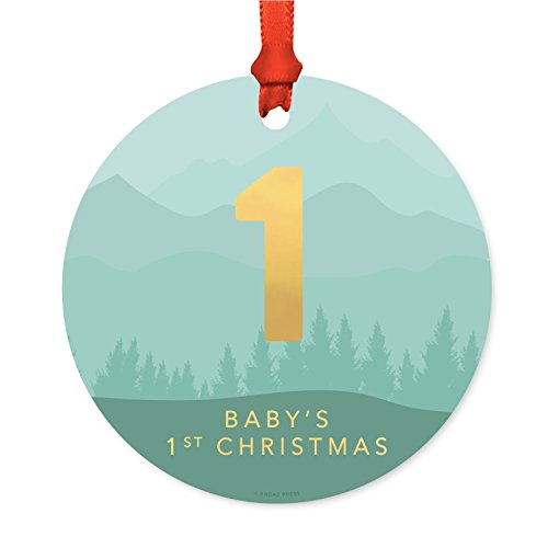 Andaz Press Family Christmas Ornament, Metal, Aqua Mountains Winter Wonderland Monogram Number 1 Baby's First Christmas, 1-Pack, Includes Ribbon and Gift Bag -