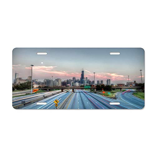 Blingreddiamond Gateway to The Windy City HDR Decorative Novelty Custom Front License Plate Cover Car Tag Decorative for US Vehicles 12 x 6 Inch -