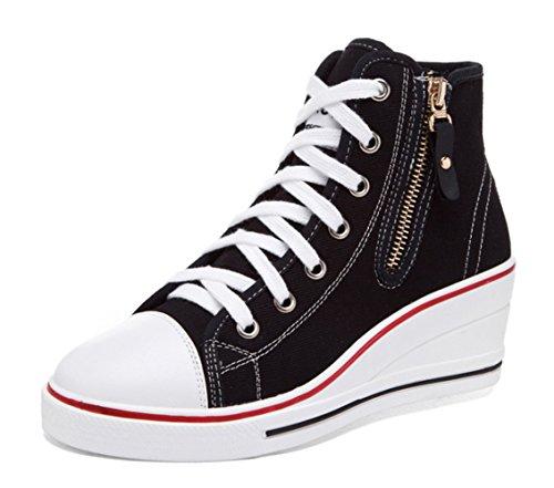 Toile Femme Casuel Compensées en Mode mogeek Baskets Tennis Sneakers Montante Chaussures Talon Toile qw7PvE7X