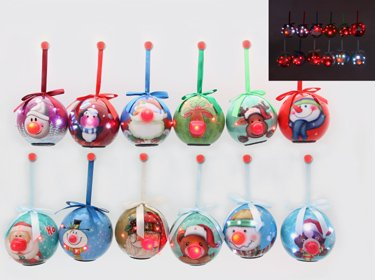 Assorted Blinking Christmas Ornaments - Set of 12
