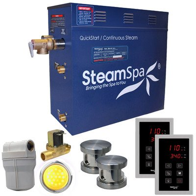 Steam Spa RYT1050BN-A Royal 10.5 KW Quick Start Acu-Steam Bath Generator Package with Built-In Auto Drain, Brushed Nickel by Steam Spa