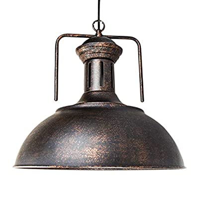 "Vintage Pendant Light - Motent Industrial Nautical Barn Dome/Bowl Shaped Ceiling Pendant Lamp Retro 15.7"" Dia Metal Lighting Fixture for Dinning Room Restaurant Loft Hotel"