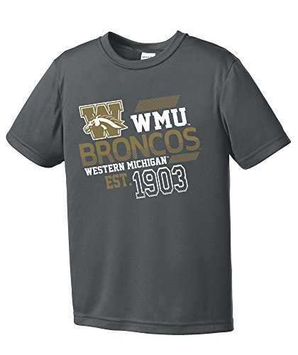 NCAA Western Michigan Broncos Youth Boys Offsides Short sleeve Polyester Competitor T-Shirt, Youth (Western Michigan University Football)
