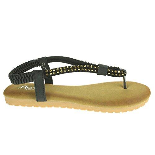 Mujer Señoras Diamante Slingback Verano playa Casual Fiesta Punta abierta Comodidad Plano Sandalias Zapatos Tamaño Negro